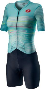 Castelli PR W speed trisuit korte mouwen zwart/blauw dames