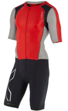 2XU Compression full zip trisuit sleeved zwart/rood/grijs heren