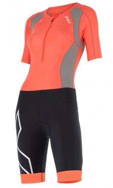 2XU Compression full zip trisuit sleeved oranje/zwart dames