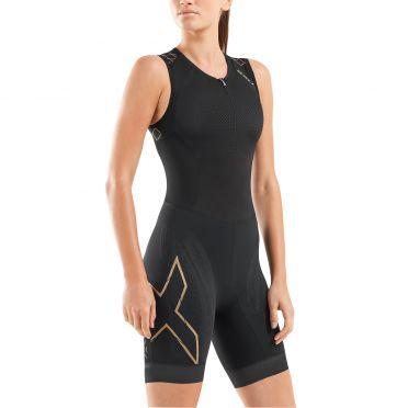 2XU Compression mouwloos trisuit zwart/goud dames