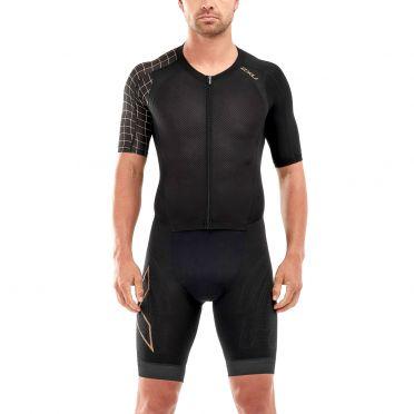 2XU Compression korte mouw trisuit zwart/goud heren