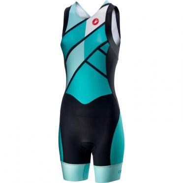 Castelli Short distance W race trisuit rits achterzijde mouwloos groen/blauw dames