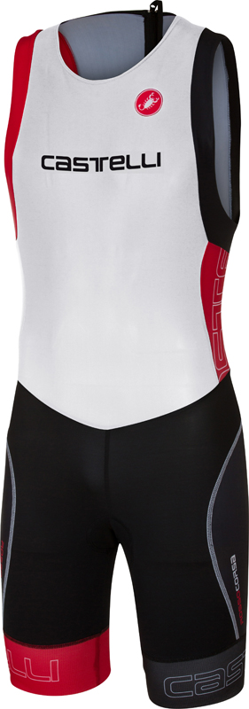 Castelli Short distance tri suit mouwloos wit/rood heren