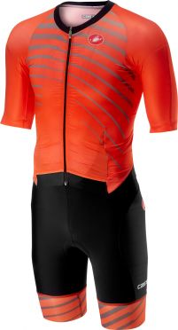Castelli All out speed trisuit korte mouw oranje/zwart heren