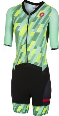 Castelli All out W speed trisuit korte mouw mint/geel/zwart dames