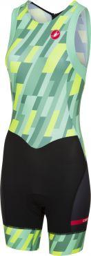 Castelli Short distance W race trisuit rits achterzijde mouwloos mint/geel/zwart dames