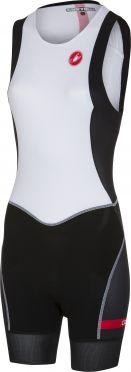Castelli Short distance W race trisuit rits achterzijde mouwloos wit/zwart dames