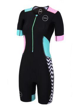 Zone3 Activate plus korte mouw trisuit Zebra fly dames