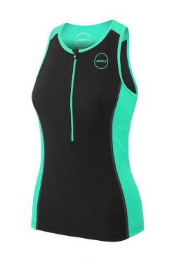 Zone3 Aquaflo plus mouwloos tri top zwart/mint dames