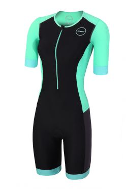 Zone3 Aquaflo plus korte mouw trisuit zwart/mint dames