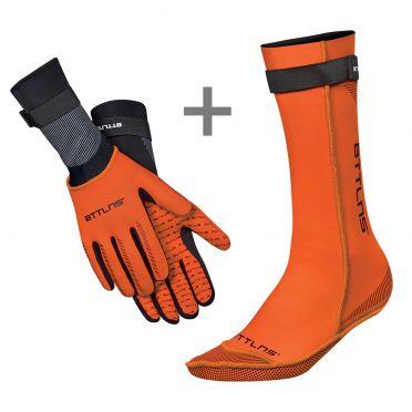 BTTLNS Neopreen zwemsokken en zwemhandschoenen voordeelset oranje