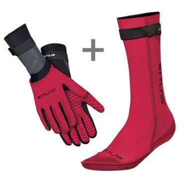 BTTLNS Neopreen zwemsokken en zwemhandschoenen voordeelset rood