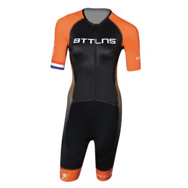 BTTLNS Typhon 2.0 trisuit korte mouwen zwart/oranje dames
