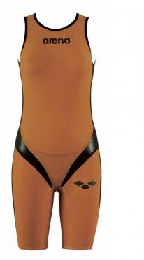 Arena Carbon pro rear zip mouwloos trisuit oranje dames
