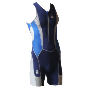 Ironman trisuit front zip mouwloos Speedflo blauw heren