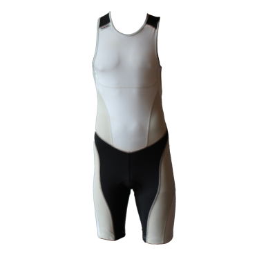 Ironman trisuit back zip mouwloos extreme suit wit/grijs heren