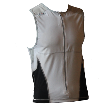 Ironman tri top front zip mouwloos bodysuit wit/zwart heren