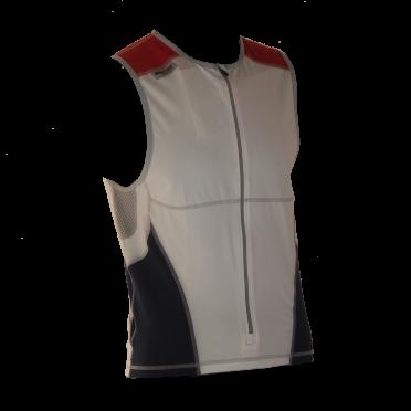 Ironman tri top front zip mouwloos bodysuit wit/blauw/rood heren