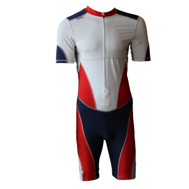 Ironman trisuit front zip korte mouw bodysuit wit/rood/blauw heren