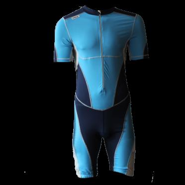 Ironman trisuit front zip korte mouw bodysuit blauw heren