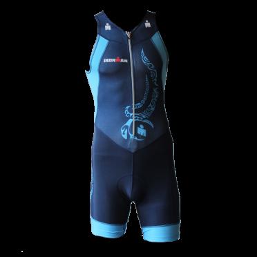 Ironman trisuit front zip mouwloos multisport tattoo blauw heren