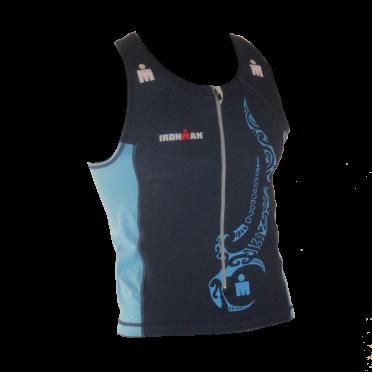 Ironman tri top front zip mouwloos multisport tattoo blauw heren