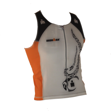 Ironman tri top front zip mouwloos multisport tattoo wit/oranje heren
