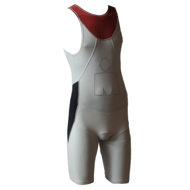 Ironman trisuit back zip mouwloos Aero wit/rood heren