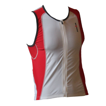 Ironman tri top front zip mouwloos 2P wit/rood heren