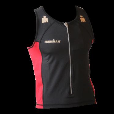 Ironman tri top front zip mouwloos T-zip zwart/rood heren