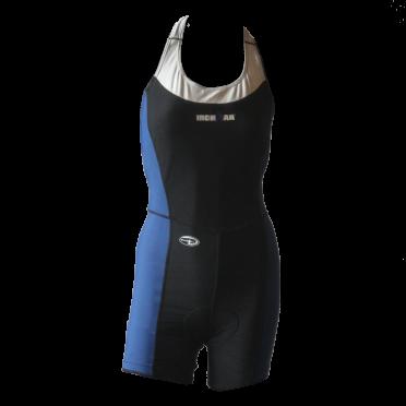 Ironman trisuit mouwloos open back Duofold blauw/zwart dames