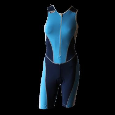 Ironman trisuit front zip mouwloos bodysuit blauw dames
