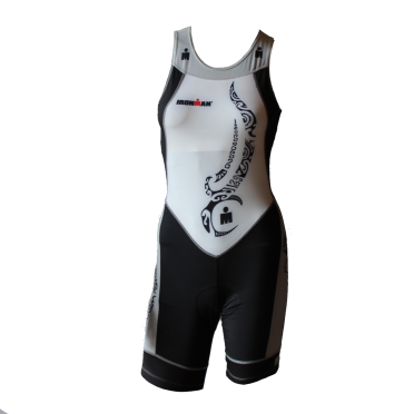 Ironman trisuit back zip mouwloos multisport tattoo wit/zwart/zilver dames