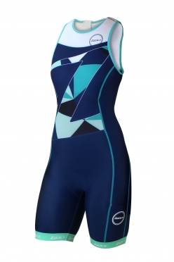 Zone3 Lava long distance tri suit blauw/groen/wit dames