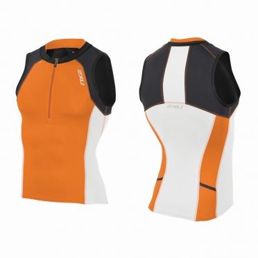 2XU Compression Tri singlet zwart/oranje heren