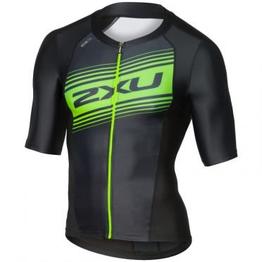 2XU Compression Korte mouw tri top zwart/groen heren