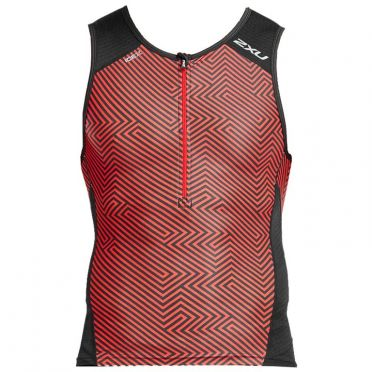 2XU Perform mouwloos tri top zwart/rood heren