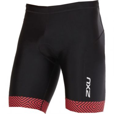 "2XU Perform 9"" tri shorts zwart/rood heren"