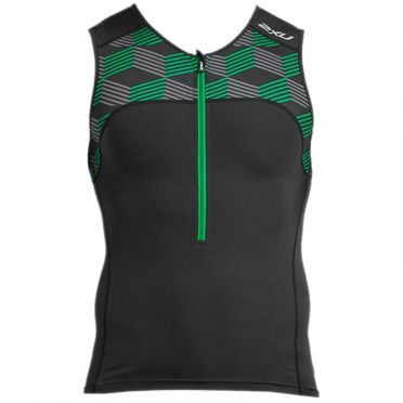 2XU Active mouwloos tri top zwart/groen heren