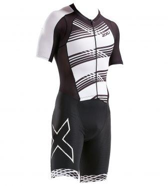 2XU Compression korte mouw trisuit zwart/wit heren