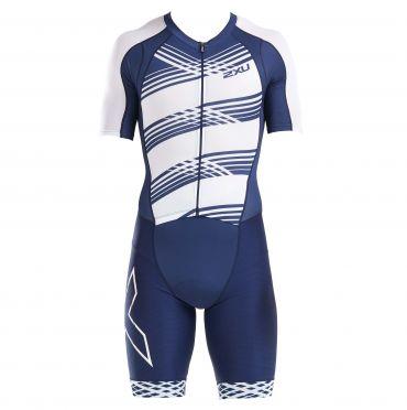 2XU Compression korte mouw trisuit blauw/wit heren