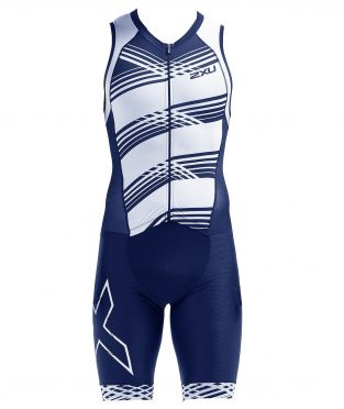 2XU Compression mouwloos trisuit blauw/wit heren