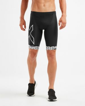 2XU Compression tri shorts zwart/wit heren