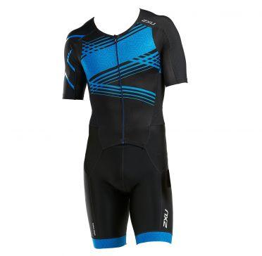 2XU Perform korte mouw trisuit zwart/blauw heren