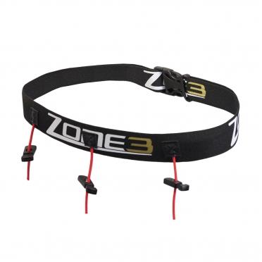 Zone3 Startnummerband met energie gel vakjes zwart/goud