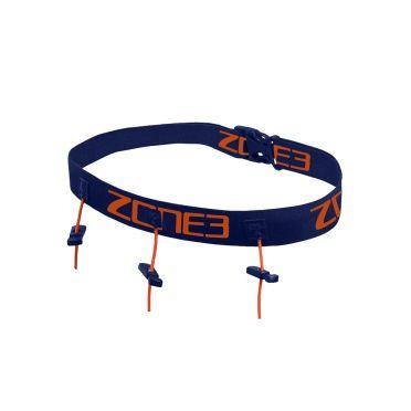Zone3 Startnummerband met energie gel vakjes blauw/oranje