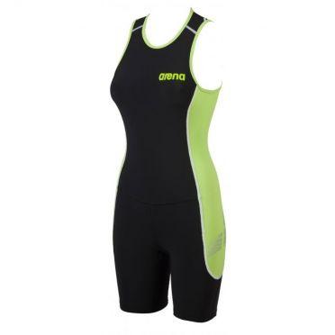 Arena ST rear zip mouwloos trisuit zwart/groen dames