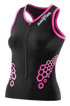Sailfish Competition tri top zwart/roze dames