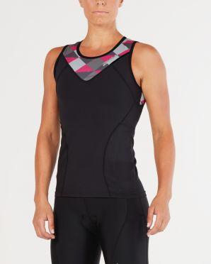 2XU Active mouwloos tri top zwart/roze dames