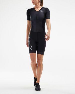 2XU Compression korte mouw trisuit zwart dames